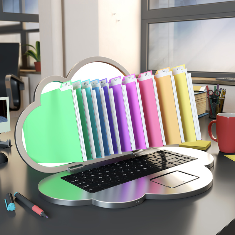 Cloud computer with files and folders coming out of the screen